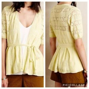 GUC Knitted & Knotted Yellow Lace Stitch Cardigan